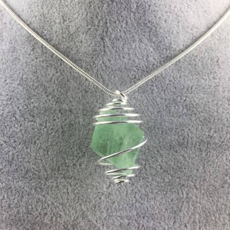Fluorite Octahedron Rough Pendant Hand Made on SILVER Plated Spiral A+-1