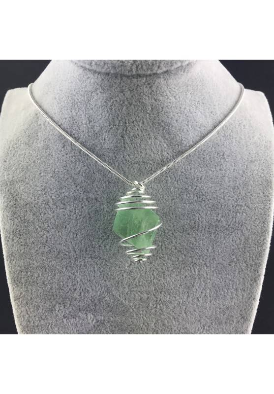 Fluorite Octahedron Rough Pendant Hand Made on SILVER Plated Spiral A+-2
