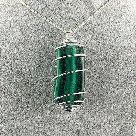 LARGE MALACHITE Pendant Hand Made on SILVER Plated Spiral A+-1