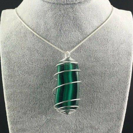 LARGE MALACHITE Pendant Hand Made on SILVER Plated Spiral A+-2