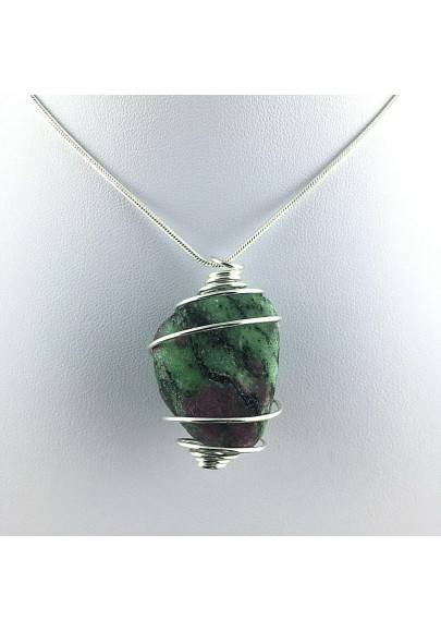 Pendant RUBY ZOISITE Hand Made on SILVER Plated Spiral Gift Idea A+-1