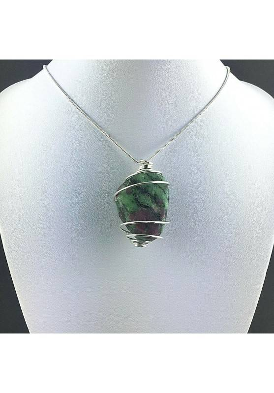 Pendant RUBY ZOISITE Hand Made on SILVER Plated Spiral Gift Idea A+-2