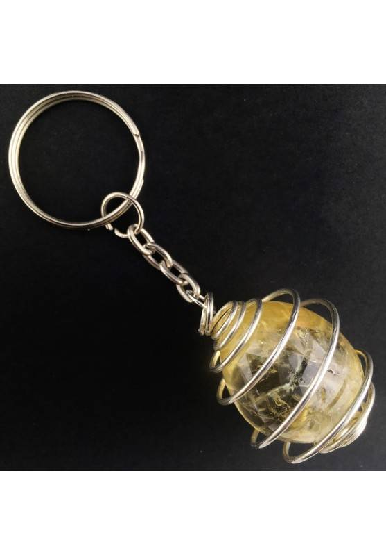 Authentic CITRINE Quartz Tumbled Keychain Keyring Hand Made on SILVER Plated Spiral A+-1