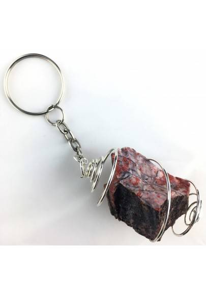 Rough Red Jasper Keychain Keyring - LEO GEMINI PISCES Zodiac Silver Gift Idea A+-1