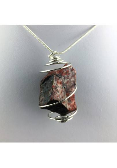 Pendant in Red Jasper ROUGH Hand Made on Silver Plated Spiral Raw Stone Unpolished-1
