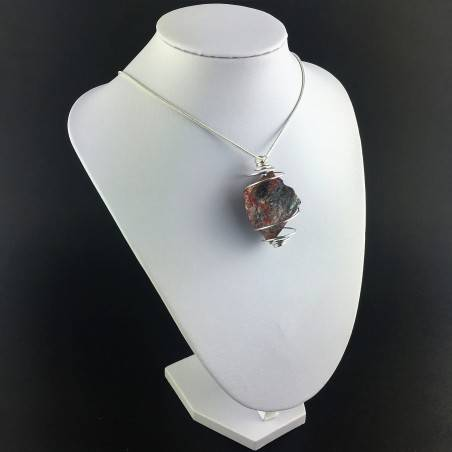 Pendant in Red Jasper ROUGH Hand Made on Silver Plated Spiral Raw Stone Unpolished-3