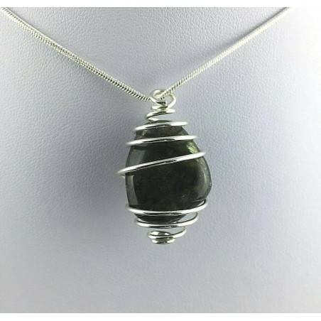 Pendant LABRADORITE Hand Made on Silver Plated Spiral Gift Idea A+-1