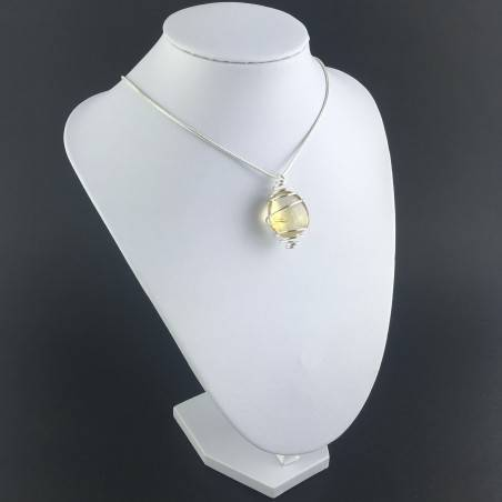 CITRINE Quartz Pendant Authentic Hand Made on SILVER Plated Spiral A+-3