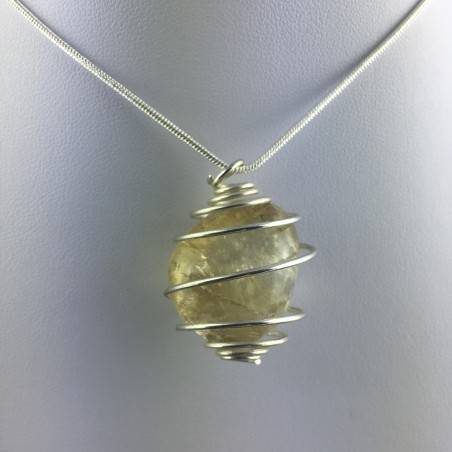CITRINE Quartz Pendant Authentic Hand Made on SILVER Plated Spiral A+-4