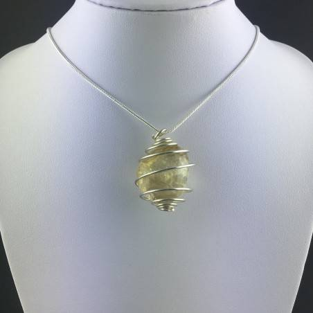 CITRINE Quartz Pendant Authentic Hand Made on SILVER Plated Spiral A+-5