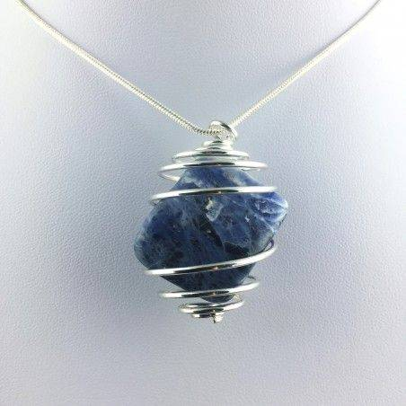 Pendant SODALITE Hand Made on Silver Plated Spiral Gift Idea A+-1