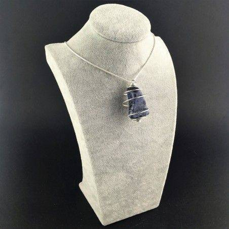 Pendant SODALITE Hand Made on Silver Plated Spiral Gift Idea A+-6