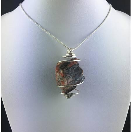 Pendant in Red Jasper ROUGH- LEO GEMINI PISCES Zodiac Silver Gift Idea A+-2