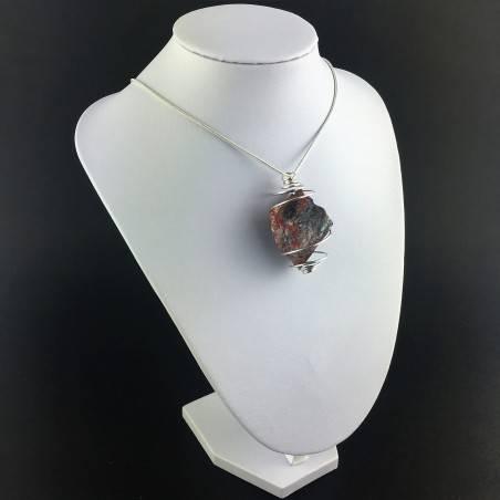 Pendant in Red Jasper ROUGH- LEO GEMINI PISCES Zodiac Silver Gift Idea A+-3