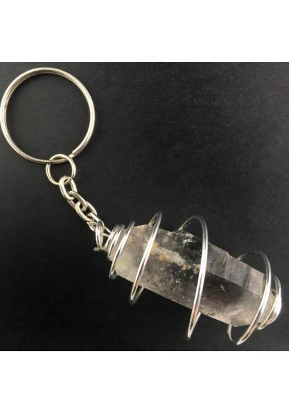 Double Terminated Tourmalined Keychain Keyring Hand Made on SILVER Plated Spiral A+-1
