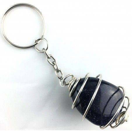SUN STONE Blue Sand Tumbled Keychain Keyring Hand Made on SILVER Plated Spiral-2