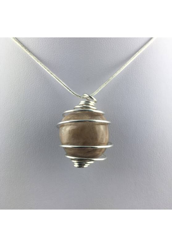ADULARIA Moon Stone Pendant Hand Made on SILVER Plated Spiral Gift Idea-2