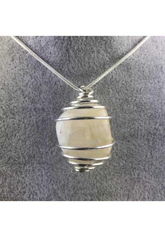 ADULARIA Moon Stone Pendant Hand Made on SILVER Plated Spiral Gift Idea-1
