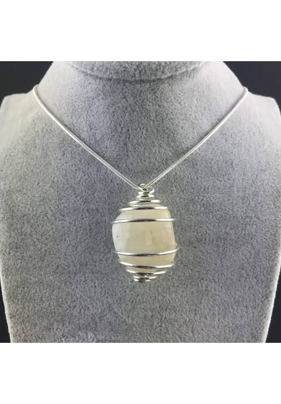 ADULARIA Moon Stone Pendant Hand Made on SILVER Plated Spiral Gift Idea-5