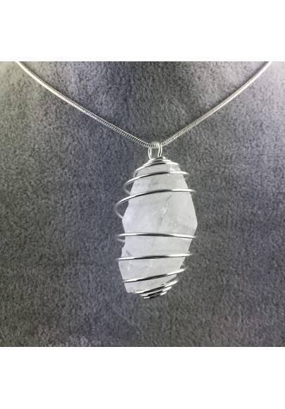 Ciondolo BITERMINATO IALINO Montato Artigianalmente Spirale Placcato Argento A+-1