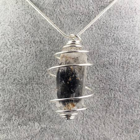 Double Terminated Tourmaline Quartz Pendant Handmade SILVER Plated Spiral Gift Idea-1