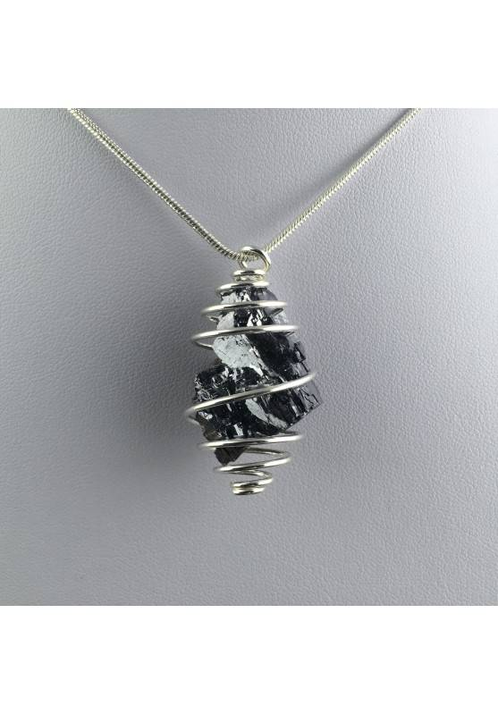 Pendant Rough GALENA Hand Made on Silver Plated Spiral Gift Idea-1