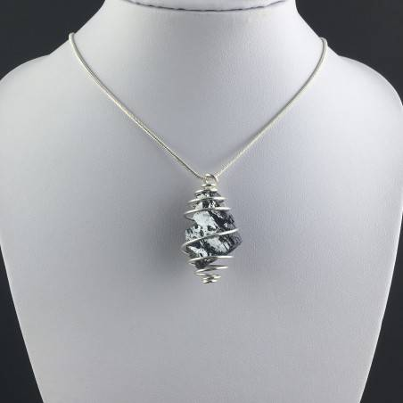 Pendant Rough GALENA Hand Made on Silver Plated Spiral Gift Idea-2