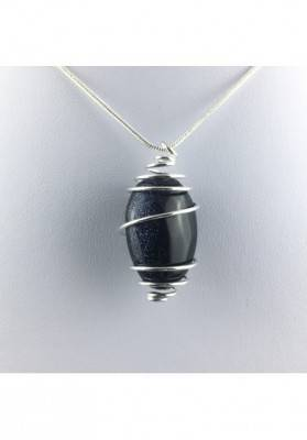 Blue Sun Stone Pendant Tumbled Stone Hand Made on SILVER Plated Spiral A+-1