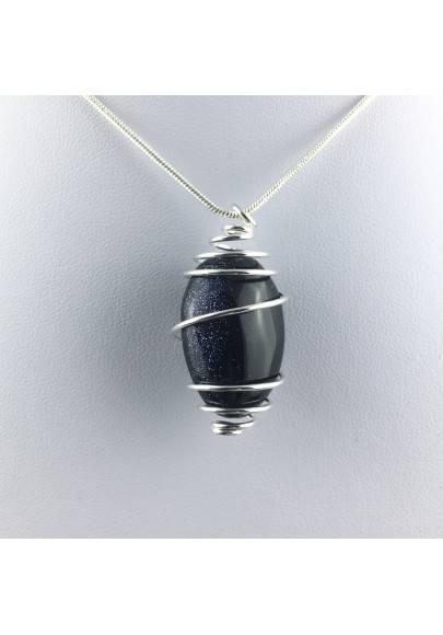 Blue Sun Stone Pendant Tumbled Stone Hand Made on Silver Gift Idea A+-1