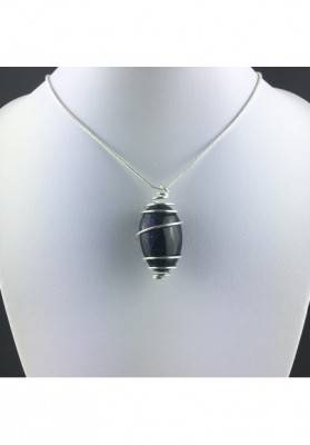 Blue Sun Stone Pendant Tumbled Stone Hand Made on Silver Gift Idea A+-2