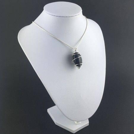 Blue Sun Stone Pendant Tumbled Stone Hand Made on Silver Gift Idea A+-3
