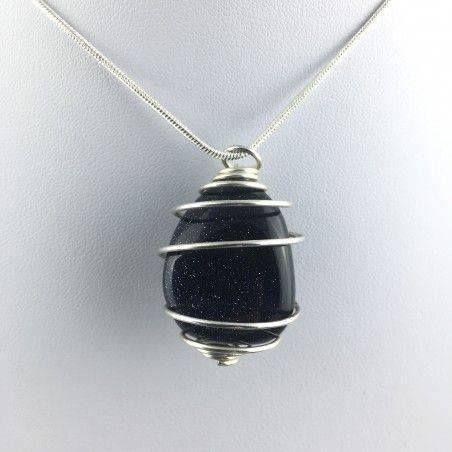 Blue Sun Stone Pendant Tumbled Stone Hand Made on Silver Gift Idea A+-4