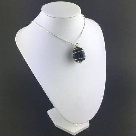 Blue Sun Stone Pendant Tumbled Stone Hand Made on Silver Gift Idea A+-6