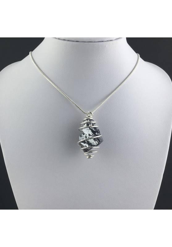 Pendant Rough GALENA - CANCER Zodiac Silver Plated Spiral Gift Idea A+-2
