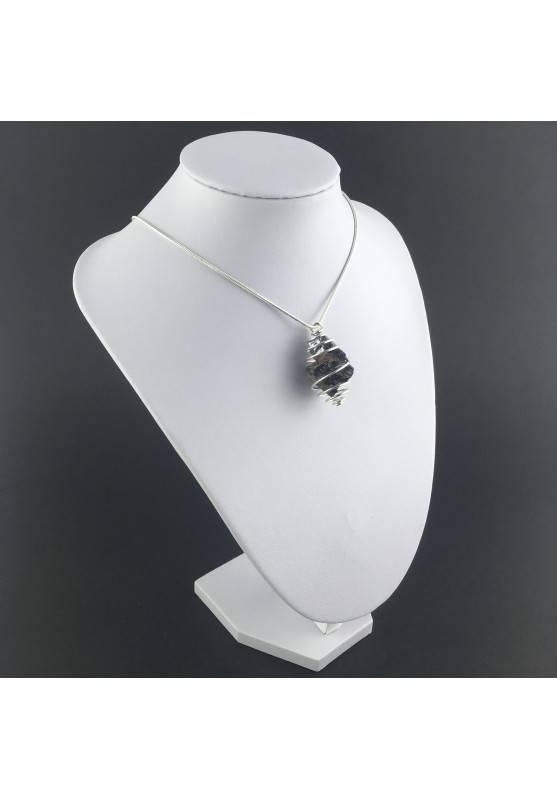 Pendant Rough GALENA - CANCER Zodiac Silver Plated Spiral Gift Idea A+-3