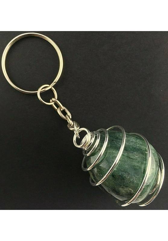 EMERALD Tumbled Keychain Keyring Handmade Silver Plated Spiral Gift Idea A+-2