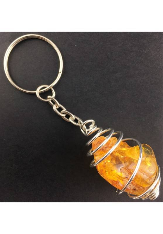 AMBER Keychain Keyring - LEO Zodiac Silver Plated Spiral Gift Idea Handmade A+-1