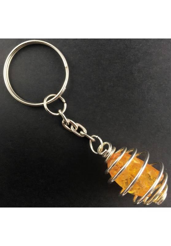 AMBER Keychain Keyring - LEO Zodiac Silver Plated Spiral Gift Idea Handmade A+-2