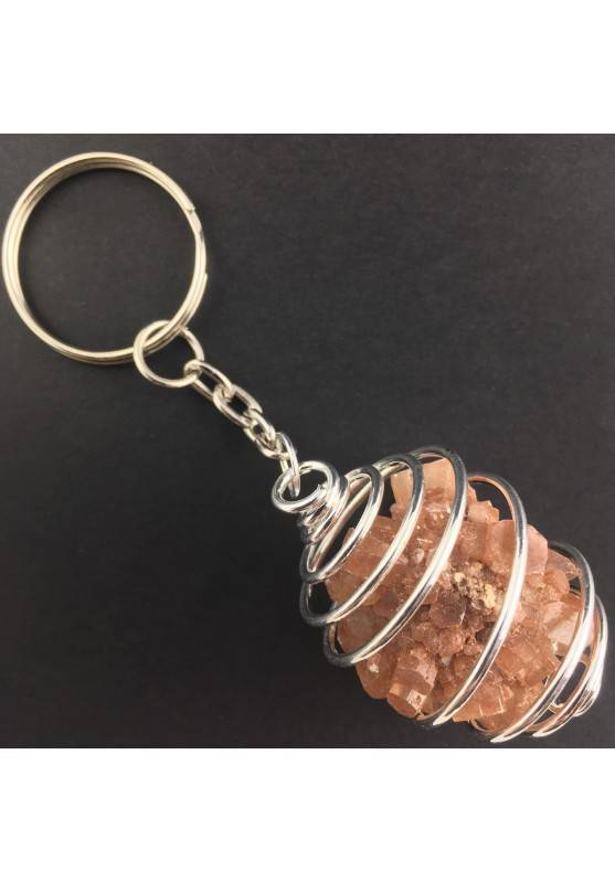 Rough Aragonite Keychain Keyring - CAPRICORN Zodiac Silver Plated Spiral A+-1