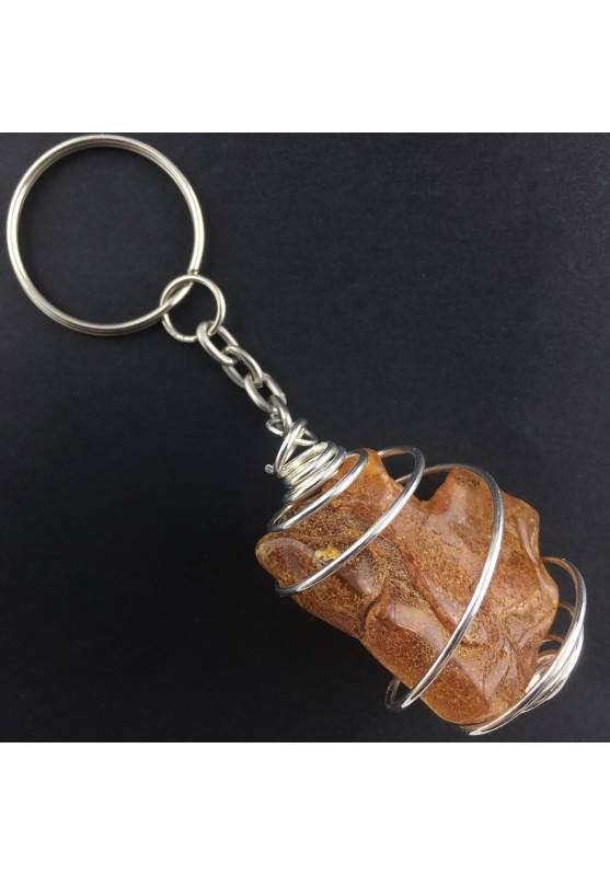 LARGE AMBER Keychain Keyring BIG - LEO Zodiac Silver Plated Spiral Gift Idea A+-2