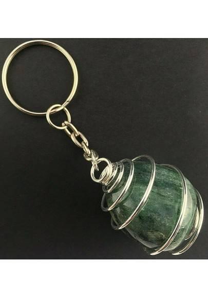 EMERALD Tumbled Keychain Keyring - TAURUS Zodiac Silver Plated Spiral Gift Idea Handmade-2