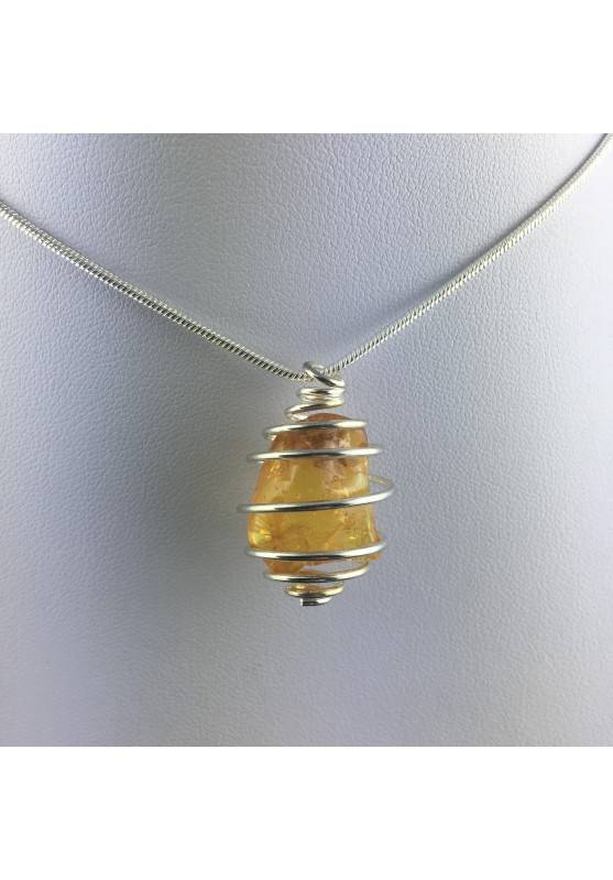 Pendant AMBER Hand Made on Silver Plated Spiral Gift Idea Minerals Chakra A+-4