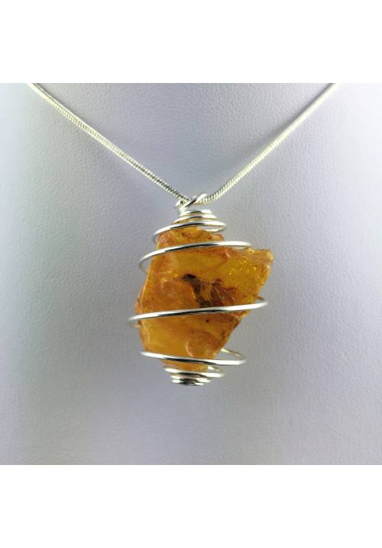 Ciondolo AMBRA GRANDE Montata Artigianalmente Spirale Placcata Argento Regalo A+-1
