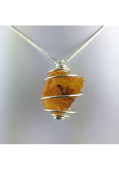 AMBER Large Pendant Hand Made on Silver Plated Spiral Gift Idea A+-1
