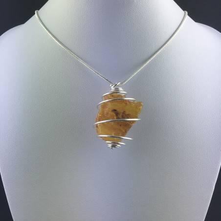 Ciondolo AMBRA GRANDE Montata Artigianalmente Spirale Placcata Argento Regalo A+-2