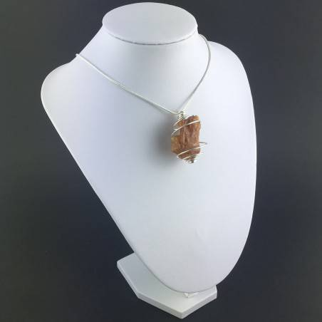 AMBER Large Pendant Hand Made on Silver Plated Spiral Gift Idea A+-6