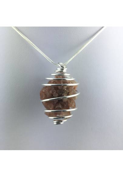 Ciondolo ARAGONITE GREZZA Montata Artigianalmente Spirale Placcata Argento A+-1