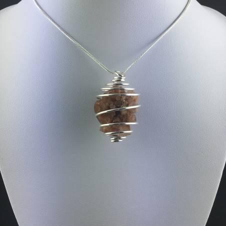 Ciondolo ARAGONITE GREZZA Montata Artigianalmente Spirale Placcata Argento A+-2