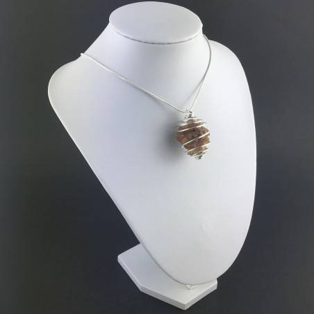 Rough Aragonite Hand Made Pendant on Silver Plated Spiral Crystal Healing A+-3