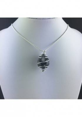 Apache Tear Obsidian Pendant Hand Made on SILVER Plated Spiral A+-2